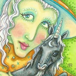 Art: CHARMS OF A BLACK UNICORN by Artist Susan Brack