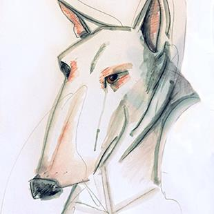 Art: Essential line bull terrier by Artist Alma Lee
