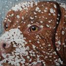 Art: Chocolate Lab Dog in Snow by Artist Pamela Godwin Manning
