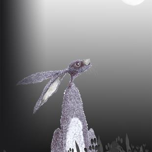 Art: MOONGAZING HARE h3321 by Artist Dawn Barker