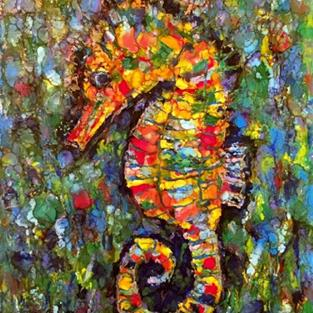Art: Abstract Seahorse - sold by Artist Ulrike 'Ricky' Martin