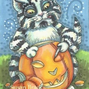 Art: CARVING THE PURRRFECT PUMPKIN by Artist Susan Brack