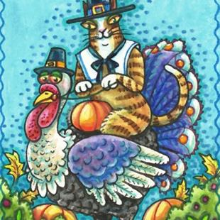 Art: HISS N' FITZ HOME FOR THANKSGIVING by Artist Susan Brack
