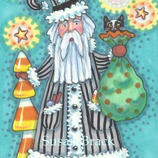 Art: ST. NICK AND CANDY CORN TREE by Artist Susan Brack