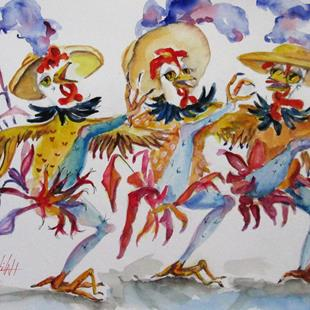 Art: Three french Hens No.4 by Artist Delilah Smith