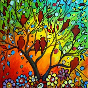 Art: HAPPY BIRDS SPRING SUNSET by Artist LUIZA VIZOLI