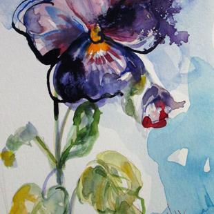 Art: Purple Pansy by Artist Delilah Smith