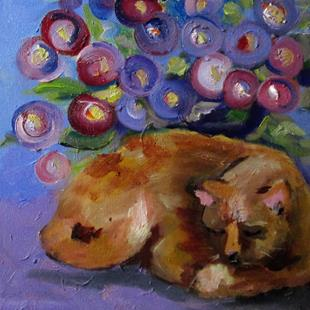 Art: Cat and Flowers=sold by Artist Delilah Smith