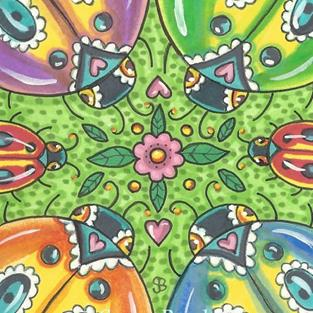 Art: LADYBIRDS WITH SPRING ZING by Artist Susan Brack