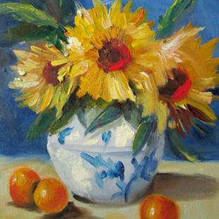 Art: Oranges and Sunflowers by Artist Delilah Smith