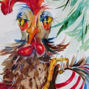 Art: Christmas Rooster-sold by Artist Delilah Smith