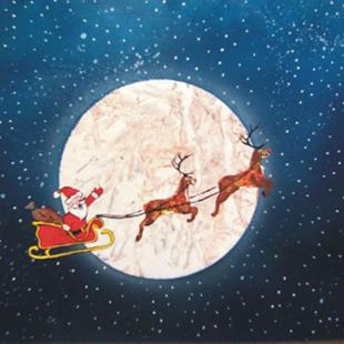Art: Santa and Reindeer by Artist Leonard G. Collins