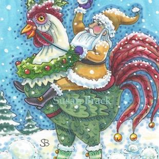 Art: CHRISTMAS ROOSTER by Artist Susan Brack