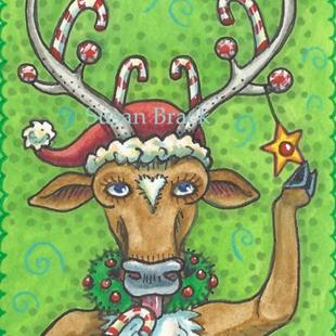 Art: DECK THE HALLS REINDEER by Artist Susan Brack