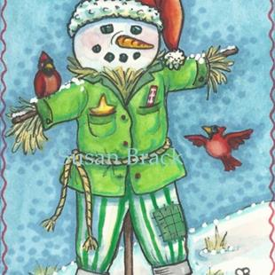 Art: FROSTY THE SCARECROW Snowman by Artist Susan Brack