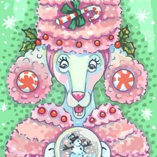 Art: PEPPERMINT PINK POODLE by Artist Susan Brack