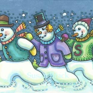 Art: RUNNING THE SNOWMAN DASH by Artist Susan Brack