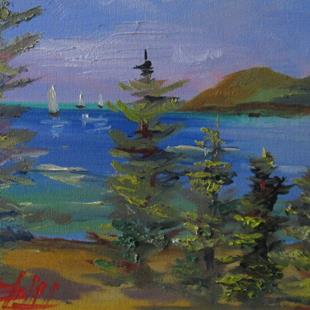 Art: Pine Trees and Sailboats by Artist Delilah Smith