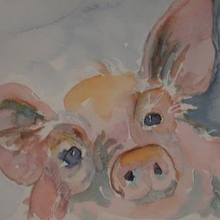 Art: Curious Pig by Artist Delilah Smith