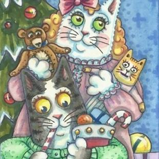Art: HISS N' FITZ ON CHRISTMAS MORN by Artist Susan Brack