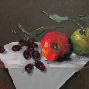 Art: Apples and Grapes by Artist Delilah Smith