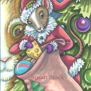 Art: WAITING FOR A GIFT FROM SANTA by Artist Susan Brack
