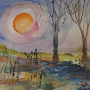 Art: Moon on the Wetlands by Artist Delilah Smith