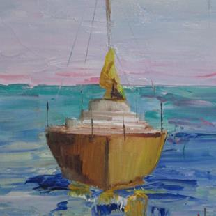 Art: Yellow Sailboat by Artist Delilah Smith