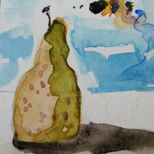 Art: Pear and Bee Aceo by Artist Delilah Smith