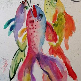 Art: Fish on a Hook No.6 by Artist Delilah Smith