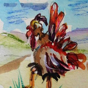 Art: Turkey Aceo by Artist Delilah Smith