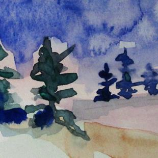 Art: Winter Pine Trees by Artist Delilah Smith