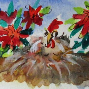 Art: Chicken in the Poinsettias by Artist Delilah Smith