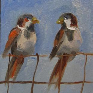 Art: Birds on a Fence by Artist Delilah Smith