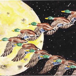 Art: Duck Painting by Artist Leonard G. Collins