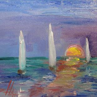 Art: Sunset Sailboats=sold by Artist Delilah Smith
