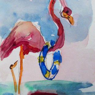 Art: Flamingo with Life Saver by Artist Delilah Smith