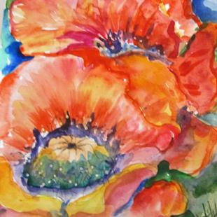 Art: Crepe Paper Poppies by Artist Delilah Smith
