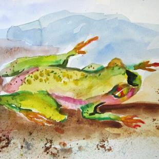 Art: Pond Frog by Artist Delilah Smith