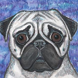 Art: Pug and Colors 1 by Artist Melinda Dalke