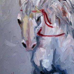 Art: White Horse-sold by Artist Delilah Smith