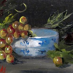 Art: Grapes and Bowl by Artist Delilah Smith