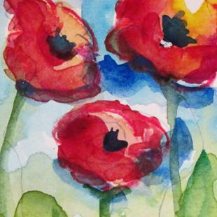 Art: Three Poppies Aceo by Artist Delilah Smith