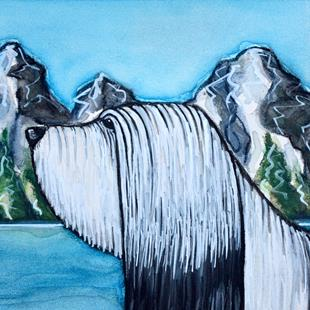 Art: Bearded Collie with Mountain Landscape by Artist Melinda Dalke