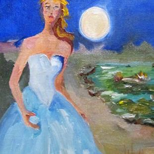 Art: Girl in a Blue Dress,sold by Artist Delilah Smith