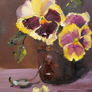 Art: Pot of Pansies-sold by Artist Delilah Smith
