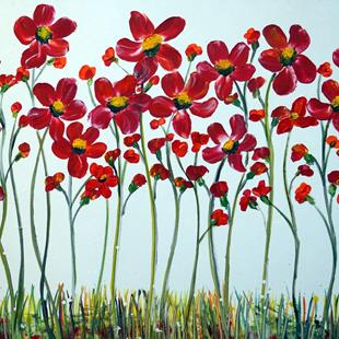 Art: Red Daisy Flowers by Artist LUIZA VIZOLI