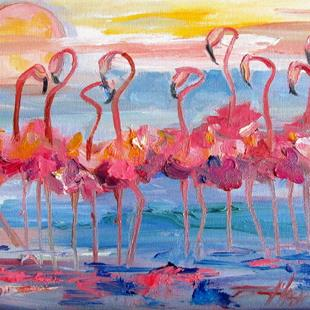 Art: Flock of Flamingos by Artist Delilah Smith