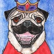 Art: King Pug with Crown and Cloak by Melinda Dalke