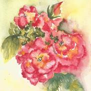 Art: Pink Wild Roses by Bonnie Pankhurst